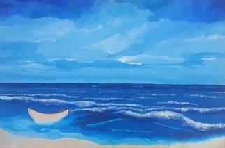 Gregory Roberson; Blue Horizon, 2015, Original Painting Acrylic, 36 x 24 inches. Artwork description: 241  Peaceful, panoramic meditative seascape. Original Acrylic Painting on canvas.seascape, ocean, water, beach, nature, sky, clouds, boat, shore, contemporary, modern, decorative, serene, peaceful, blue  ...