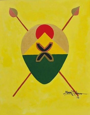 Gregory Roberson; Emancipation And Freedom, 2015, Original Painting Acrylic, 16 x 20 inches. Artwork description: 241 Spears and Shield collection.  This collection has symbolic and spiritual meaning for the African Diaspora. The shield represent protection while the spear represents defense and offense.  Each shield has unique symbol encompassing illuminating concepts for family and nation building as it pertains to the people of the ...