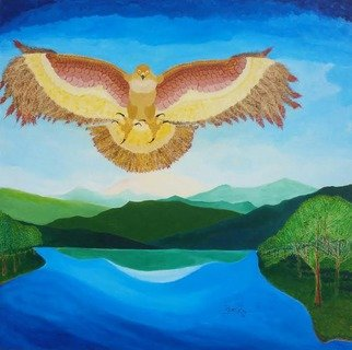 Gregory Roberson; Regal Place, 2016, Original Painting Acrylic, 24 x 24 inches. Artwork description: 241  Original acrylic painting on Masonite board. A majestic hawk in a Regal Place is flying above the landscape and commands power in a serene place. landscape, bird, hawk, sky, lake, water, mountains, eagle, nature, animals ...