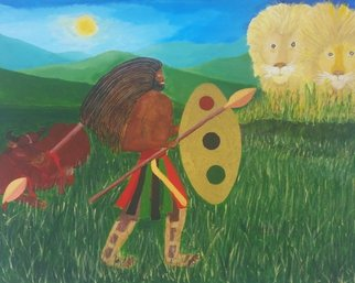 Gregory Roberson; Spiritual Warrior, 2016, Original Painting Acrylic, 20 x 16 inches. Artwork description: 241 Original acrylic painting on canvas.Rasta, African- American, ethnic, tribal, liberation, lion, bull, warrior, spear, shield, landscape ...