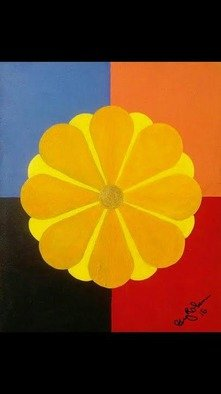 Gregory Roberson; Sunburst Daisy, 2015, Original Painting Acrylic, 16 x 20 inches. Artwork description: 241  Original Acrylic Painting on Masonite board. flower, abstract, geometric, contemporary, decorative...