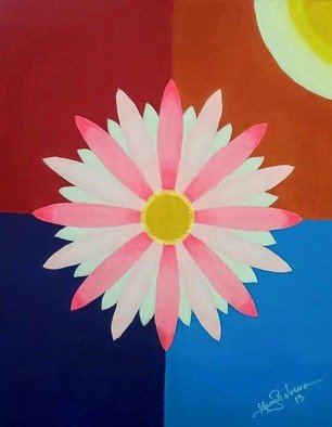 Gregory Roberson; Water Lily, 2015, Original Painting Acrylic, 16 x 20 inches. Artwork description: 241  Original Acrylic Painting on Masonite board. flower, abstract, geometric, contemporary, decorative ...