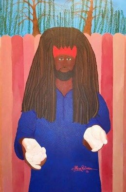Gregory Roberson; Young King, 2015, Original Painting Acrylic, 24 x 36 inches. Artwork description: 241 Original acrylic Painting on canvas of a contemporary Young King and Lion from the tribe of Judah.Rasta, African- American, ethnic, tribal, liberation, warrior, spear, king, ethnic, people, man, Judah...