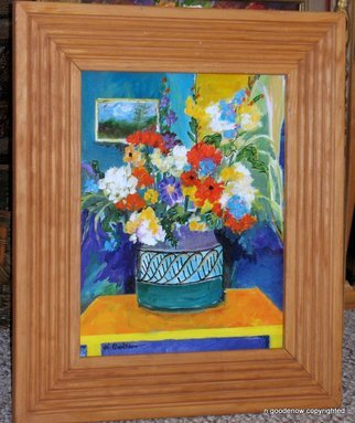 Nancy Goodenow; Flowers In A Room, 2011, Original Painting Acrylic, 12 x 16 inches. Artwork description: 241    acrylic painted on wood      ...