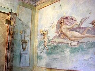 Jeff Monsein; Pompei Bathroom, 2004, Original Mixed Media, 10 x 9 feet. Artwork description: 241 Textured walls, frescos of old pompei, breakaway ceiling, distressed moldings and shutters...
