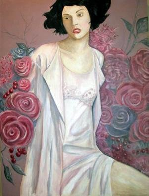 Jeff Monsein; Woman With Roses, 2004, Original Painting Acrylic, 36 x 48 inches. Artwork description: 241 Woman and Roses.  Both strong and sweet at the same time. ...
