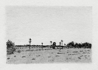 Keith Thrash; Field And Telephone Poles, 1989, Original Drawing Pencil, 2 x 1 inches. Artwork description: 241  Field and poles above Newbern. ...