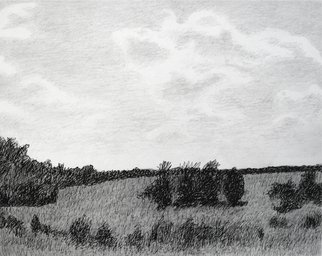 Keith Thrash; Hillside In Summer, 1988, Original Drawing Other, 15 x 12 inches. Artwork description: 241  Pencil and ink. ...