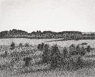 Keith Thrash; Landscape, 1991, Original Printmaking Lithography, 3 x 2 inches. Artwork description: 241  Pencil over print of hills north of Livingston. ...