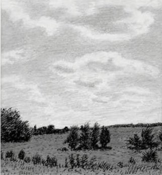 Keith Thrash; Luminous Clouds, 1986, Original Drawing Pencil, 7 x 7 inches. Artwork description: 241  Hillside above Livingston, on Interstate 59. ...