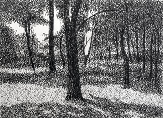 Keith Thrash; Tree In Central Park, 1987, Original Drawing Pen, 4.3 x 3.3 inches. Artwork description: 241  Rapidograph pin drawing. ...