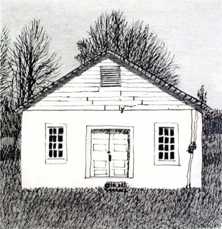 Keith Thrash; White Block Church, 1998, Original Printmaking Lithography, 7 x 7 inches. Artwork description: 241  Concrete block church on old road to east side of Rooster Bridge. ...