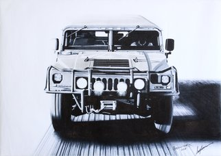 Sreejith Krishnan  Kunjappan; Humvee, 2015, Original Drawing Marker, 16.5 x 11.7 inches. Artwork description: 241 The Hummer H1 or theHumveeis an American iconic automobile more popular for its off road capabilities and military applications.  It is still considered to be the king when it comes to conquering terrain of any kind.  This marker render is of a Humvee roaring at you and ...