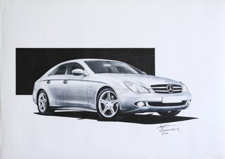 Sreejith Krishnan  Kunjappan; Mercedes Benz Cls 2008, 2015, Original Drawing Marker, 16.5 x 11.7 inches. Artwork description: 241 The first time when I saw a Mercedes CLS 4- door coupe on the road in 2008 I immediately fell in love with it.  I had seen anything like it before.  The roofline scooping to the rear and the converging tail end make it a very beautiful ...