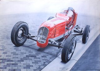 Sreejith Krishnan  Kunjappan; The Big Red Racer, 2016, Original Drawing Marker, 23.4 x 16.5 inches. Artwork description: 241 This marker rendering is of a 1940 race car more popularly known as Sawin Ford Big Car. It is an extremely rare racer built by coach builder Sawin which had a simple architecture and was economical to run. They are called  big cars  because Sawin was known ...
