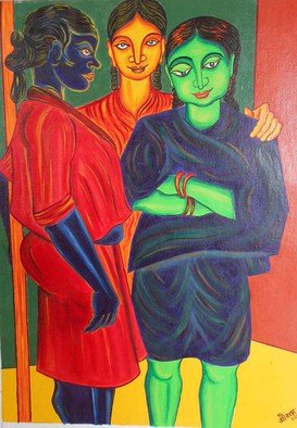 Shribas Adhikary; Three Friend, 2015, Original Painting Acrylic, 14 x 19 inches. Artwork description: 241  this painting realistic figurative form,I created this work this month 2015. medium, cotton cloth pest on mound board and acrylic colour. I did not duplicate the work of an artist. The creation of original art to me.        fantasy pot rate this is my personal creation. I ...