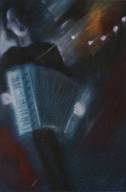 Susan Ross Donohue; Accordeoniste, 2007, Original Pastel Oil, 7 x 11 inches.