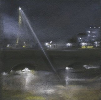 Susan Ross Donohue; Night Light, 2007, Original Pastel Oil, 8 x 8 inches. Artwork description: 241  The light from the Eiffel on the Seine.   ...