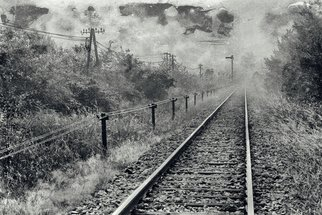Tomislav Stajduhar; tracks, 2005, Original Other, 45 x 30 cm. Artwork description: 241 Morning haze black and white manipulated photograph of a solitary country railroad tracks. ...