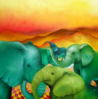 Massimiliano Stanco; Desert Elephants, 2009, Original Painting Oil, 40 x 40 inches.