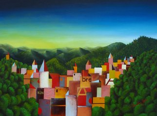 Massimiliano Stanco; Forest Hills, 2008, Original Painting Oil, 48 x 36 inches. Artwork description: 241  In the dream where I was flying towards the horizon over a land I have seen in the past. ...