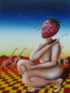 Massimiliano Stanco; Miss Strawberry, 2008, Original Painting Oil, 48 x 36 inches.