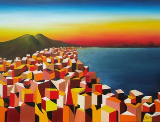 Massimiliano Stanco; Napoli, 2008, Original Painting Oil, 48 x 36 inches. Artwork description: 241  The Bay of Naples at Sunset ...