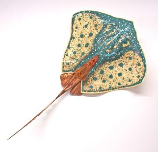Stan Harmon; Glass Stingray, 2014, Original Sculpture Glass, 30 x 6 inches. Artwork description: 241  Kiln formed glass with copper and bronze tail. Can be displayed on wall or hanging from ceiling upside down or as part of a mobile with multiple stingrays. Comes in 3 sizes.   Fused Glass, copper, bronze, steel   ...