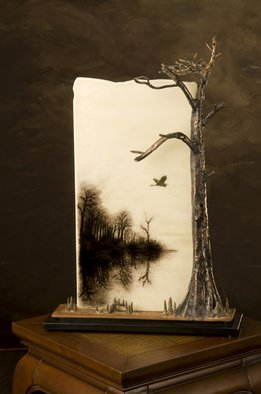 Stan Harmon; Going Home, 2009, Original Sculpture Glass, 12 x 20 inches. Artwork description: 241  Kiln- formed sheet glass with black powder imagery. No enamels used. Copper, bronze and steel used in  cypress tree with osprey nest. 12x20x6 inches ...