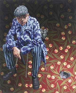 Stephen Hall; Imperialist, 2014, Original Painting Acrylic, 46 x 56 inches. Artwork description: 241  Man, Gangster, Gun, Chinchilla, daffodils, flat cap, boots, striped trousers, chair.           ...