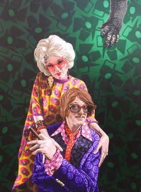 Stephen Hall; Mel And Fanny, The Portrait, 2016, Original Painting Acrylic, 36 x 48 inches. Artwork description: 241    Motorbike, Yamaha SR500, Rooster, Molecules, Straight Edge Razor  Stephen Halls latest painting Mel and Fanny, the Portrait commissioned by owners of legendary Burlesque and variety club The Slipper Room James Habacker and Camille Helene Habacker. This painting was commissioned for their new soon to be filmed movie ...