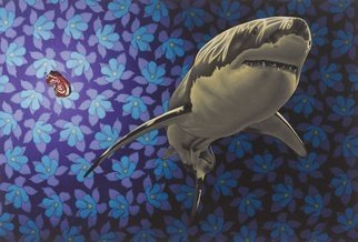 Stephen Hall; The Real Killer, 2014, Original Painting Acrylic, 60 x 40 inches. Artwork description: 241  Shark, Coke- Can, Blue Flowers, Ocean, Nature.          ...