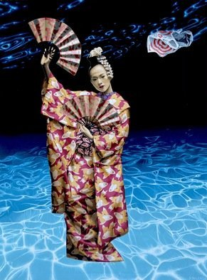 Stephen Hall; Beauty And The Empty Ocean, 2020, Original Painting Acrylic, 4 x 5.4 inches. Artwork description: 241 A Geisha adorned in various treasures of sea life, stands in an empty ocean with the image of a plastic bag branded as a metaphor for corporate greed. ...