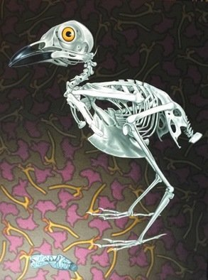 Stephen Hall; Restricted Diet, 2018, Original Painting Acrylic, 2.4 x 3.2 inches. Artwork description: 241 This painting again has an ecological plea to it. The skeletal bird, the plastic bottle with ribbing echoes the ribs of the bird and the background of dying flowers. All in all a concern for our planet. Had I omitted the eye it would be merely a ...