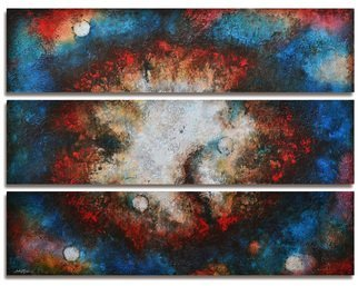 Steve Hunsicker; Between the Light, 2014, Original Painting Acrylic, 49 x 36 inches. Artwork description: 241  Triptych. Heavy textured multiglazed mixed media painting including drawings and phrases between layers ...