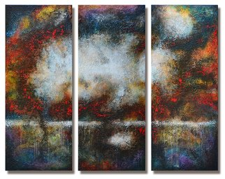 Steve Hunsicker; Beyond the Light, 2014, Original Painting Acrylic, 65 x 49 inches. Artwork description: 241 Triptych, Heavy textured multiglazed mixed media painting including drawings and phrases between layers  ...
