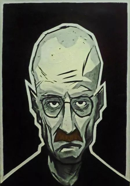 Steve Meyerholz; Mr White, 2017, Original Painting Acrylic, 24 x 36 inches. Artwork description: 241 This painting of Walter WhiteHeisenberg , from the hit television show aEURoeBreaking Bad, aEUR it is on a 24aEURx36aEURx1. 5aEUR stretched canvas.  He is painted in a cartoon style from the shoulders up with high quality black, gray, white and brown acrylic paint.  I chose this style ...