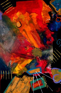 Steven Lee; Night At The Cantina, 2009, Original Painting Acrylic, 24 x 36 inches. Artwork description: 241    Abstract painting , Steven Lee , Art , modern , original , mixed media , contemporary, nam, myoho, renge, kyo  ...