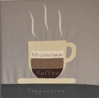 Stich-stich Gmbh; Cappuccino, 2019, Original Painting Other, 40 x 40 cm. Artwork description: 241 Fabric image made of high- quality cotton fabric.  The picture can be used as decoration for house, practice, office, cafe etc. ,as a unique gift. ...
