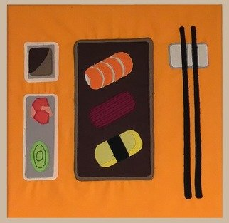 Stich-stich Gmbh; Sushi Set, 2019, Original Painting Other, 35 x 35 cm. Artwork description: 241 Fabric image made of high- quality cotton fabric.  The picture can be used as decoration for house, practice, office, cafe etc. ,as a unique gift. ...
