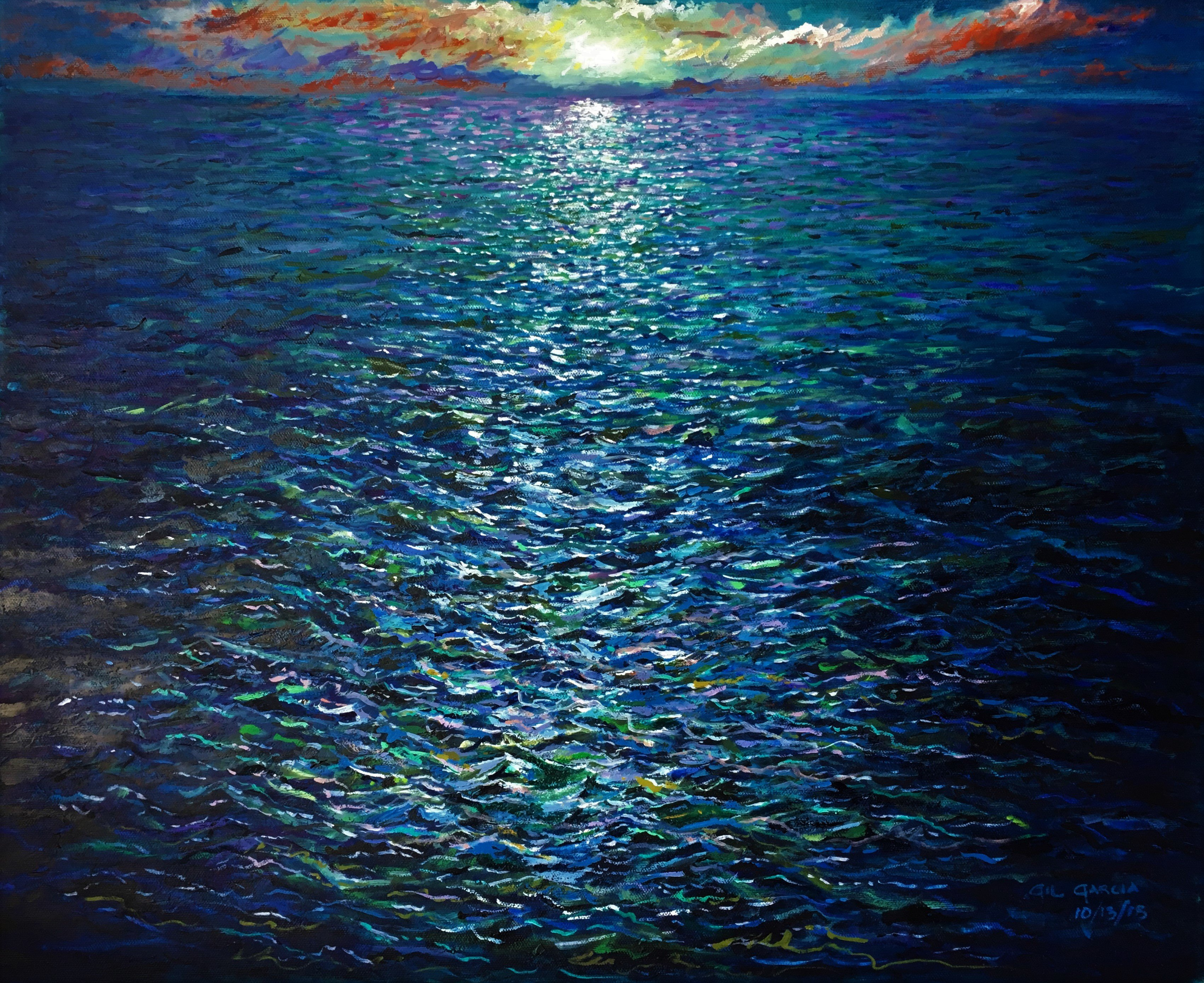 Gil Garcia; Deep Ocean Sunset, 2019, Original Painting Oil, 20 x 16 inches. Artwork description: 241 An impressionistic look at a Deep Ocean Sunset in blues, whites, and greens. ...