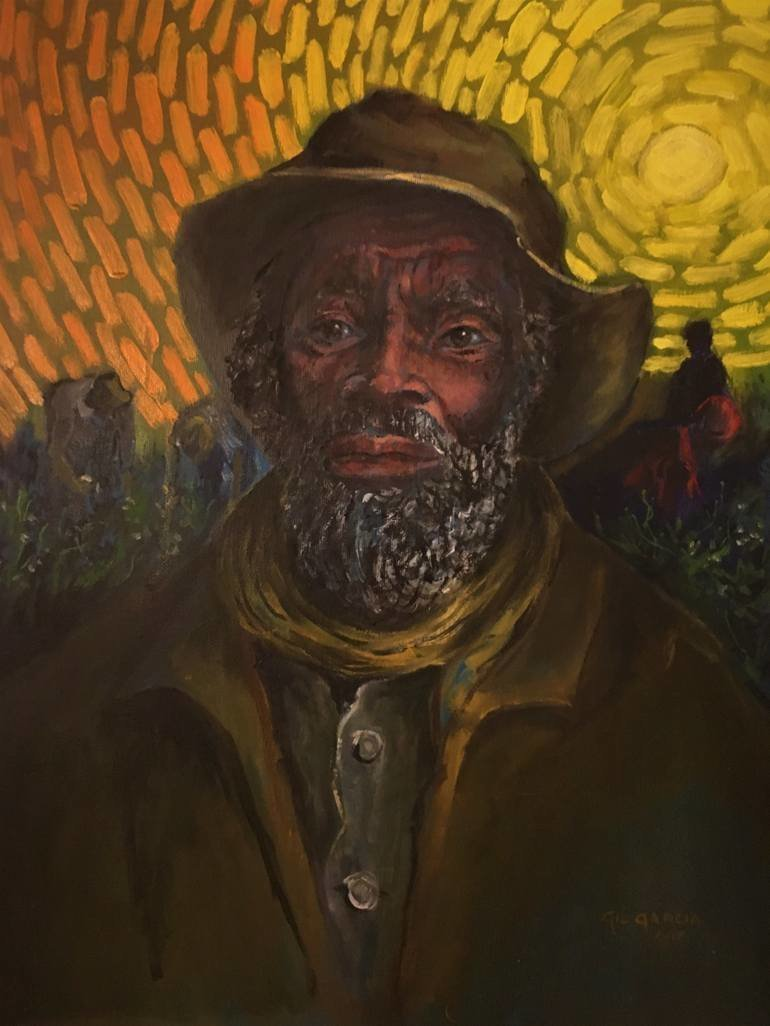 Gil Garcia; Old Field Slave, 2019, Original Painting Oil, 16 x 20 inches. Artwork description: 241 I ran across a tintype black and white print of a slave, most likely taken in the mid- nineteenth century.  I felt that if I painted him he would live on forever. ...
