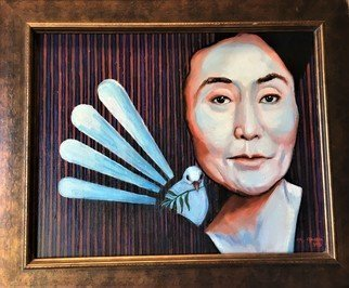 Gil Garcia; Yoko Ono And The Peace Dove, 2019, Original Painting Oil, 16 x 20 inches. Artwork description: 241 A contemporary portrait of the late John Lennon s wife Yoko Ono and a symbolized dove of peace...