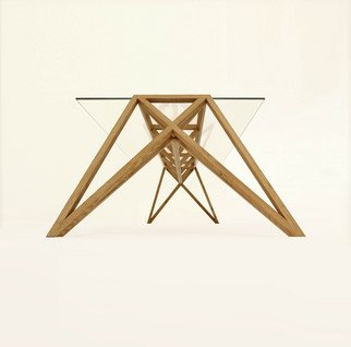 T.m. Schmid; ponte, 2012, Original Furniture, 100 x 72 cm. Artwork description: 241  The base frame consists of massive oak wood elements, a composition in framework style. It is mounted with only 6 screws. Its table top is made of clear glass. The tables are available in 2 lengths and are produced in small series. ...