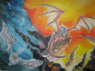 Paulina Nadalin; Fire And Ice, 2009, Original Painting Acrylic, 52 x 25 cm. Artwork description: 241  A depiction of two Dragons from World of Warcraft characters. Deathwing ( right) , the harbringer of death and Sindragosa ( left) , the Frost Queen. Done with watercolor pencil crayons and acrylic paints. Outlined with india ink. ...