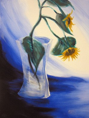 Paulina Nadalin; Lonely, 2010, Original Painting Acrylic, 10 x 12 inches. Artwork description: 241  Two sunflowers in a glass vase surrounded by drapes. Used a model. ...