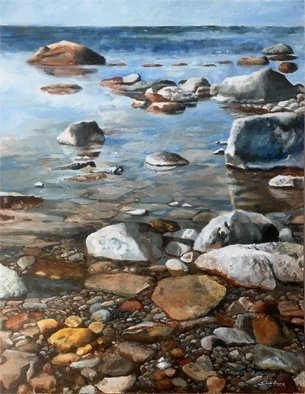 Thor-Leif Strindberg; shore at the island of Öland, 2017, Original Painting Acrylic, 31 x 47 inches.