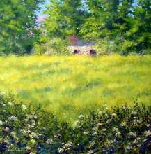 Artist: Stuart Parnell's, title: Barn and Buttercups, 2007, Painting Acrylic