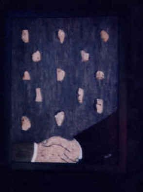 Anneliese Fritts; Thank You The Wall Came Down, 2004, Original Mixed Media, 24 x 33 inches. Artwork description: 241   The historic handshake between President Ronald Reagan and President Mikhail Gorbachev.  Original Berlin Wall inlay with Acrylic Background on Birchwood PanelThis artwork is part of the