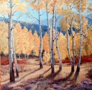 Sue Jacobsen; Aspen Grove In East Fork, 1987, Original Painting Oil, 44 x 44 inches.